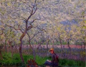 Fuente: un huerto en primavera - Claude Monet